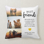 Trendy Best Friends Photo Collage & Quote Throw Pillow