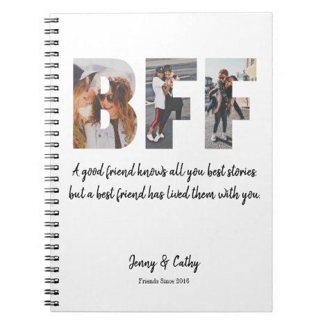 Trendy BFF Photo Collage Best Friend Forever Quote Notebook