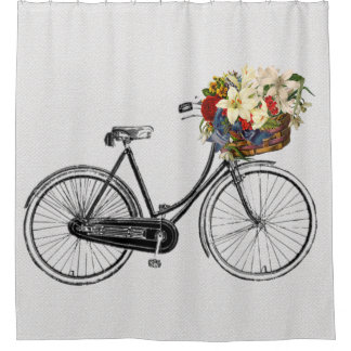 Captivating Trendy Bicycle Flower Bike Shower Curtain