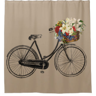 Exceptional Trendy Bicycle Flower Bike Taupe Shower Curtain