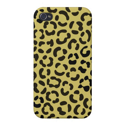 Trendy Black and Faux Gold Leopard Print Pattern Case For iPhone 4