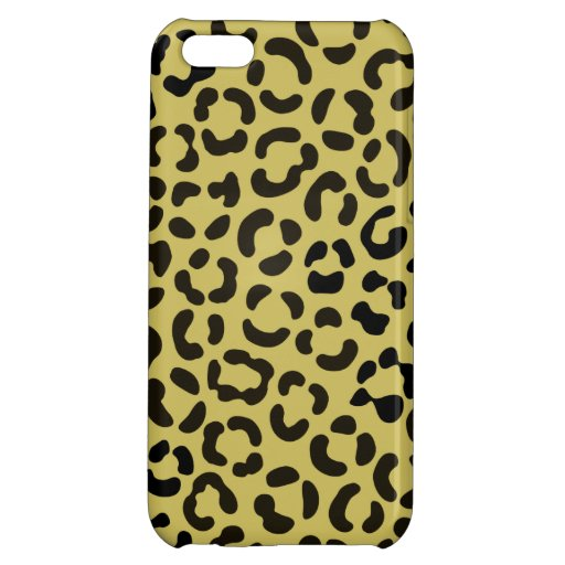 Trendy Black and Faux Gold Leopard Print Pattern Case For iPhone 5C