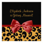 Trendy Black And Gold Leopard Print Bridal Shower Custom Announcement