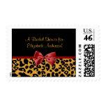 Trendy Black And Gold Leopard Print Bridal Shower Postage
