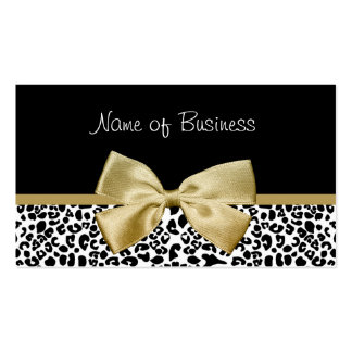 Trendy Black And Gold Leopard Print Gold Ribbon Business Card Template