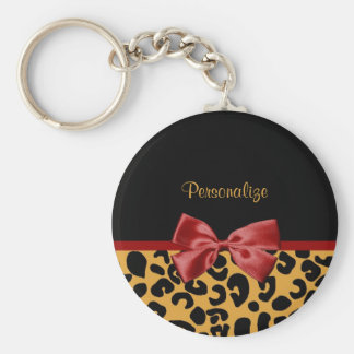 Trendy Black and Gold Leopard Print Red Ribbon Bow Basic Round Button Keychain