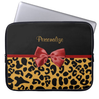 Trendy Black and Gold Leopard Print Red Ribbon Bow Computer Sleeve