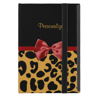Trendy Black and Gold Leopard Print Red Ribbon Bow iPad Mini Cases