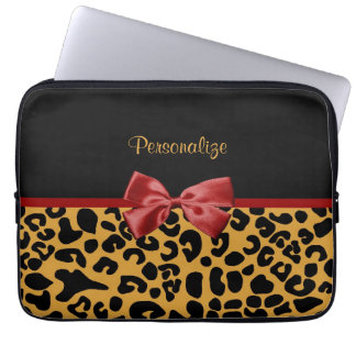 Trendy Black and Gold Leopard Print Red Ribbon Bow Laptop Sleeves