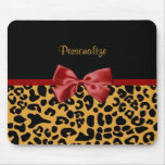 Trendy Black and Gold Leopard Print Red Ribbon Bow Mouse Pad