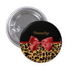 Trendy Black and Gold Leopard Print Red Ribbon Bow Pinback Button