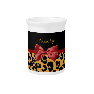 Trendy Black and Gold Leopard Print Red Ribbon Bow Beverage Pitcher