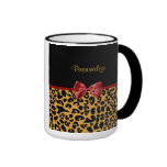 Trendy Black and Gold Leopard Print Red Ribbon Bow Ringer Coffee Mug