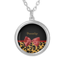 Trendy Black and Gold Leopard Print Red Ribbon Bow Silver Plated Necklace