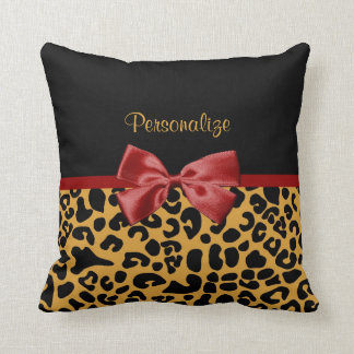 Trendy Black and Gold Leopard Print Red Ribbon Bow Throw Pillow