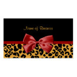 Trendy Black And Gold Leopard Print Red Ribbon Business Card Templates