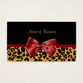 Trendy Black And Gold Leopard Print Red Ribbon Business Card