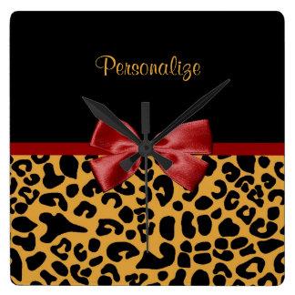Trendy Black And Gold Leopard Print Red Ribbon Square Wallclock