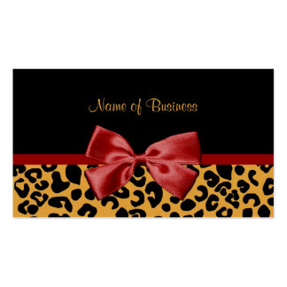 Trendy Black And Gold Leopard Print Red Ribbon Double-Sided Standard Business Cards (Pack Of 100)