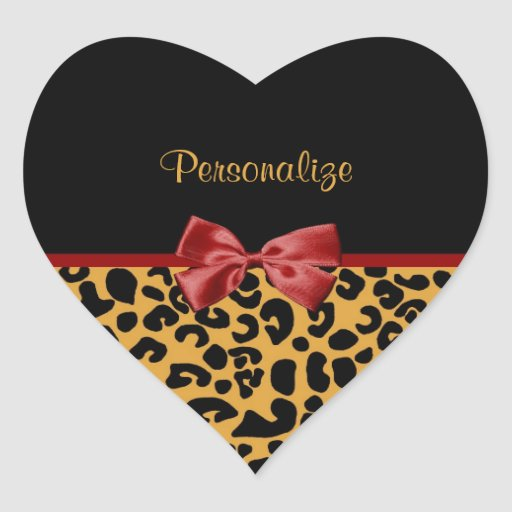 Trendy Black And Gold Leopard Print Red Ribbon Sticker