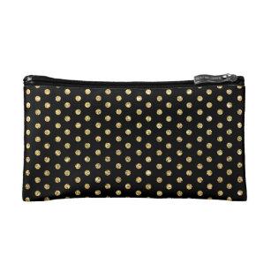 252c05016b Trendy Black and Gold Polka-Dots Pattern Cosmetic Bag