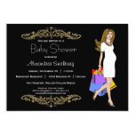 """Trendy Black And Leopard Print Shopping Mommy 5"""" X 7"""" Invitation Card"""