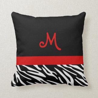 Trendy Black and Red Zebra Stripe Monogram Pillows