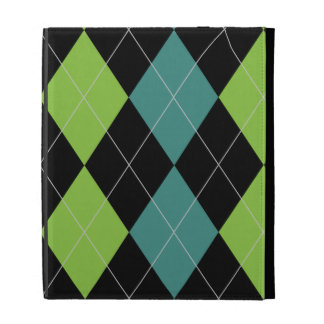 Trendy Black and Teal Argyle iPad Folio Case