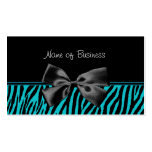 Trendy Black And Teal Zebra Print With Ribbon Business Card Templates