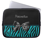 Trendy Black And Teal Zebra Print With Ribbon Laptop Sleeve
