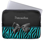 Trendy Black And Teal Zebra Print With Ribbon Laptop Computer Sleeve