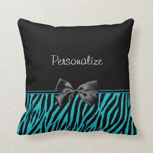 Teal And Black Decorative Pillows : Trendy Black And Teal Zebra Print With Ribbon Pillow