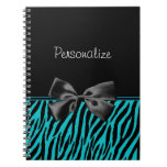 Trendy Black And Teal Zebra Print With Ribbon Spiral Notebook