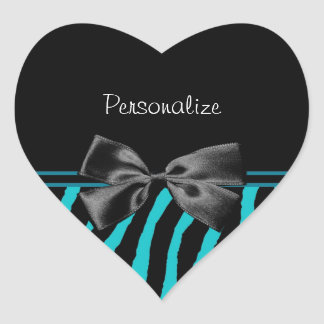 Trendy Black And Teal Zebra Print With Ribbon Stickers