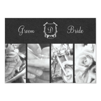 Trendy Black and White Biker Wedding Invitation