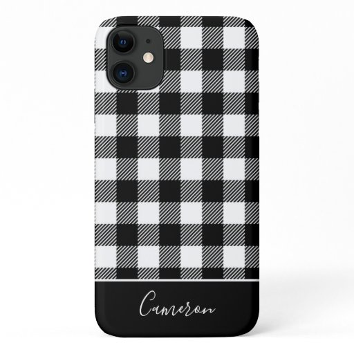 Trendy Black and White Buffalo Plaid Personalized iPhone 11 Case