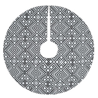 Trendy Black and White Geometric Pattern Brushed Polyester Tree Skirt
