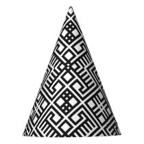 Trendy Black and White Geometric Pattern Party Hat