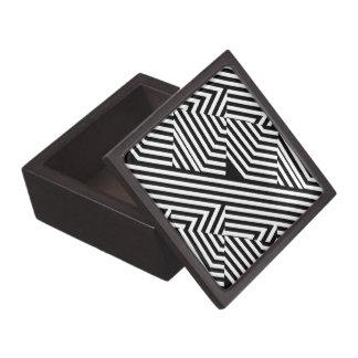 Trendy Black and White Geometric Stripes Pattern Premium Gift Box
