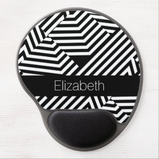 Trendy Black and White Geometric Stripes With Name Gel Mouse Pad