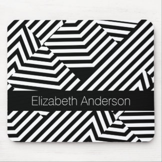 Trendy Black and White Geometric Stripes With Name Mouse Pad