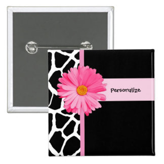 Trendy Black And White Giraffe Pink Daisy and Name Button
