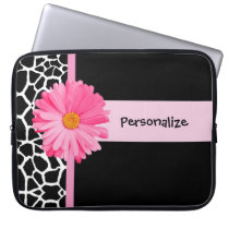 Trendy Black And White Giraffe Pink Daisy and Name Laptop Sleeve
