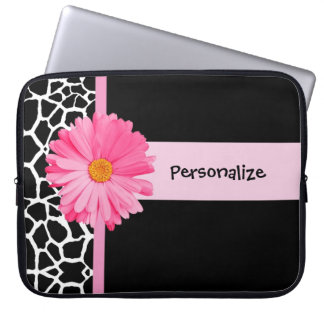 Trendy Black And White Giraffe Pink Daisy and Name Laptop Computer Sleeves
