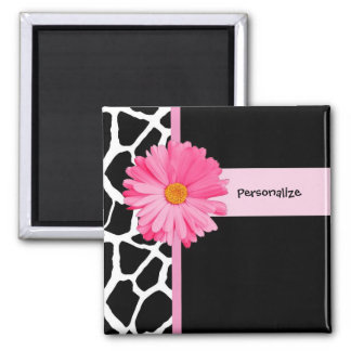 Trendy Black And White Giraffe Pink Daisy and Name Refrigerator Magnet