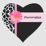 Trendy Black And White Giraffe With Pink Daisy Stickers