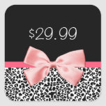 Trendy Black and White Leopard Pink Price Tag Square Sticker
