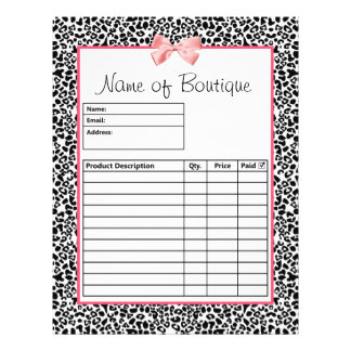 Trendy Black And White Leopard Print Order Forms Flyer