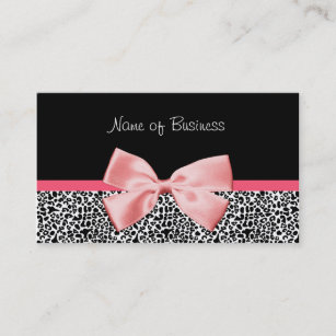 Leopard business cards 1800 leopard business card templates trendy black and white leopard print pink ribbon business card colourmoves