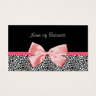 Ribbon business cards templates zazzle trendy black and white leopard print pink ribbon business card reheart Images
